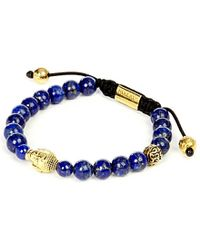 Nialaya | 14ct Gold-plated Sterling Silver And Blue Lapis Bracelet for Men | Lyst