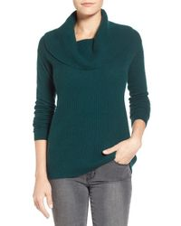 Caslon | Green Cashmere Cowl Neck Sweater | Lyst