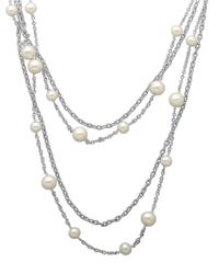 Lord & Taylor | White Sterling Silver And Freshwater Pearl Necklace | Lyst