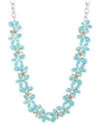 Anne Klein | Blue Gold-tone All-around Flower Collar Necklace | Lyst