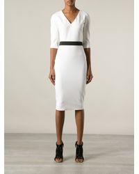 Victoria Beckham | White Vneck Fitted Dress | Lyst