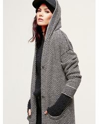 e063bf78b Lyst - Free People Right Angles Hooded Sweater Jacket in Black