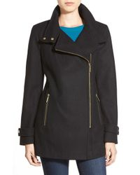 MICHAEL Michael Kors | Black Asymmetrical Wool Blend Coat | Lyst