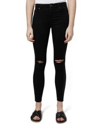 TOPSHOP | Black 'leigh' Ripped Skinny Jeans | Lyst