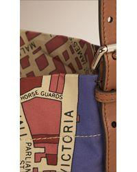 Burberry - Blue London Map Cotton Shoulder Bag - Lyst