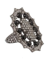 Bavna | Sterling Silver Ring With Black Spinel And Pave Diamond | Lyst