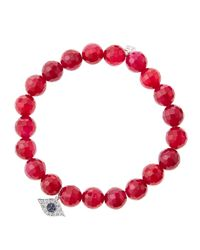 Sydney Evan - Pink 8Mm Faceted Red Agate Beaded Bracelet With 14K White Gold/Diamond Small Evil Eye Charm (Made To Order) - Lyst