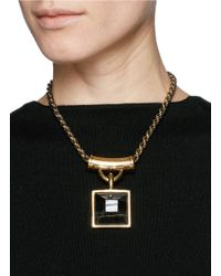 Alexander McQueen - Black Tiger Eye Square Pendant Necklace - Lyst
