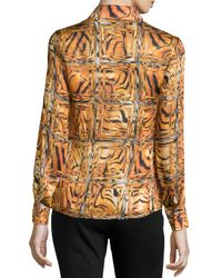 ESCADA - Multicolor Printed Pointed Collar Blouse - Lyst