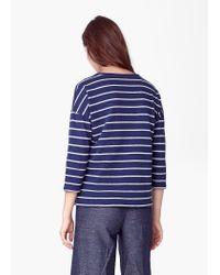 Mango - Blue Cotton Linen-blend T-shirt - Lyst