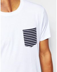 SELECTED | White T-shirt With Contrast Stripe Pocket for Men | Lyst