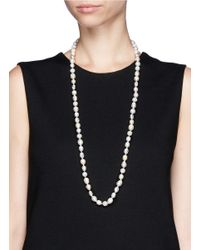 CZ by Kenneth Jay Lane | White Pavé Bead Faux Baroque Pearl Necklace | Lyst