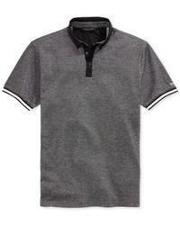 Sean John - Gray Chambray-Collar Pique Polo for Men - Lyst