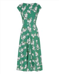 Jaeger - Green Blossom Outline Printed Dress - Lyst