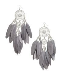 H&M | Metallic Large Earrings With Feathers | Lyst
