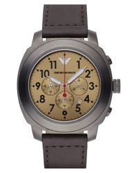 Emporio Armani - Brown Chronograph Watch for Men - Lyst