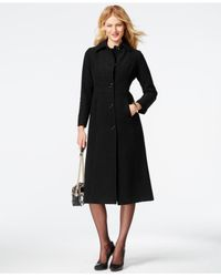 Anne Klein | Black Seamed Wool-blend Maxi Coat | Lyst