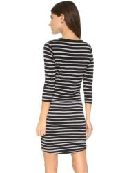 Sundry | 3/4 Sleeve Henley Dress - Black | Lyst