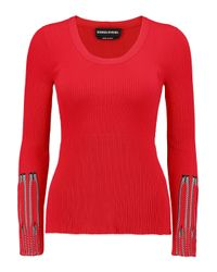 Sonia Rykiel - Red Stretch Ribbed-knit Sweater - Lyst