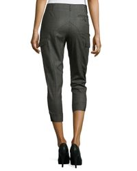 Stella McCartney - Green Wool Plaid Fitted Cropped Trousers - Lyst