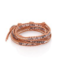 Chan Luu | Brown Grey Cloudy Quartz, Crystal & Leather Multi-row Beaded Wrap Bracelet | Lyst