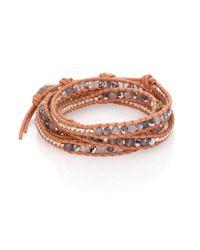 Chan Luu | Brown Grey Cloudy Quartz, Crystal & Leather Multi-row Beaded Wrap Bracelet | Lyst