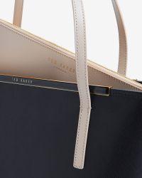 Ted Baker   Black Crosshatch Leather Large Shopper Bag   Lyst