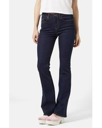 TOPSHOP - Blue Moto Flare Jeans - Lyst