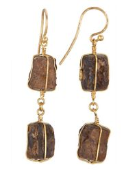 Gurhan | Brown Women's 24k Yellow Gold Raw Tiger's Eye Earrings | Lyst