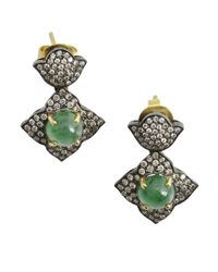 Amrapali | Metallic 'Arabesque Collection' Diamond And Emerald Earrings | Lyst