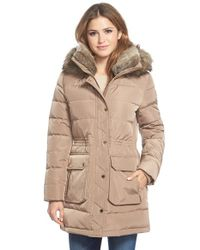 MICHAEL Michael Kors | Brown Quilted Parka With Faux Fur Trim | Lyst