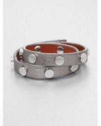 Tory Burch | Double-wrap Metallic Leather Bracelet/silvertone | Lyst