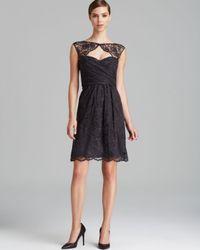 Amsale - Black Dress Cap Sleeve Cutout Front Open Back Lace - Lyst