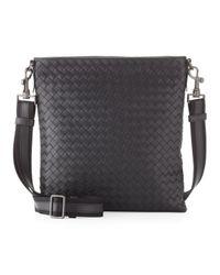 Bottega Veneta - Black Men's Woven Zip-top Messenger Bag - Lyst