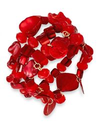 INC International Concepts | Gold-tone Red Shell Three-row Stretch Bracelet | Lyst