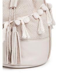 Koza | Natural 'eva' Pompom Fringe Leather Bucket Bag | Lyst