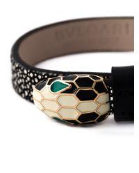 BVLGARI | Black Leather Snake Bracelet | Lyst
