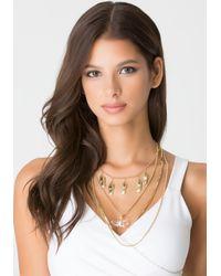 Bebe - Metallic Draped Pendant Necklace - Lyst