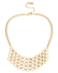Kenneth Cole | Metallic Gold-tone Crystal Statement Necklace | Lyst