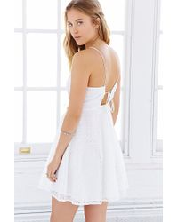 Love Sadie - White Lace Drawstring Halter Dress - Lyst