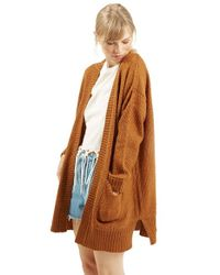 TOPSHOP | Brown Honeycomb Knit Open Front Cardigan | Lyst