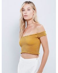 Free People | Metallic Smocked Seamless Crop Top | Lyst
