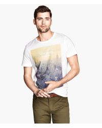 H&M - White Tshirt with A Print for Men - Lyst