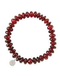 Sydney Evan | 8mm Faceted Garnet Beaded Bracelet With 14k White Gold/diamond Small Evil Eye Charm (made To Order) | Lyst