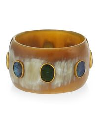 Ashley Pittman - Light Horn Bangle W/labradorite & Green Tourmaline - Lyst