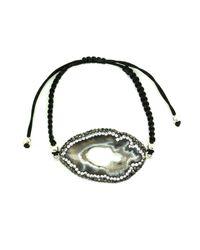 Soru Jewellery | Black Agate Slice Cord Bracelet Silver | Lyst