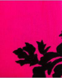 Janavi - Pink Cashmere And Velvet Floral Scarf - Lyst