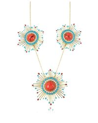 Les Nereides | Gypsunset Red And Turquoise Necklace W/3 Suns | Lyst