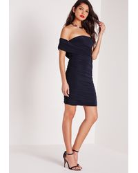Missguided | Blue Asymmetric Ruched Side Mini Dress Navy | Lyst