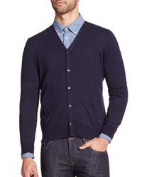 Façonnable - Blue Cotton & Cashmere Cardigan for Men - Lyst